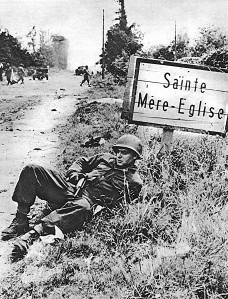 American Paratrooper near St. Mere Eglise; Second World War,