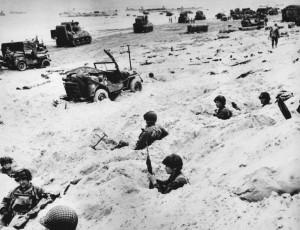 World War II, Soldiers on Utah Beach, France,
