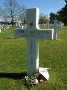Jimmy Monteith grave at Colleville cemetery