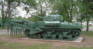 Sherman Flail (anti mine) tank.